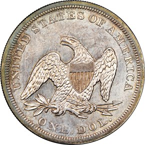 1862 $1 MS reverse