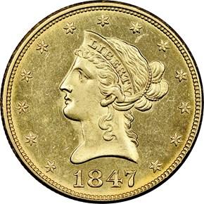1847 $10 MS obverse