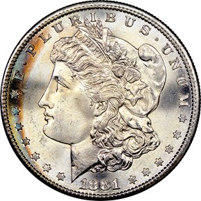 1881 S $1 MS obverse