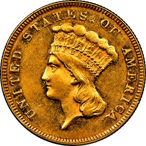 1873 CLOSED 3 $3 MS obverse