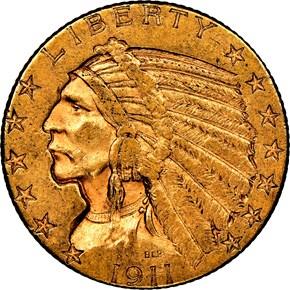 1911 D $5 MS obverse