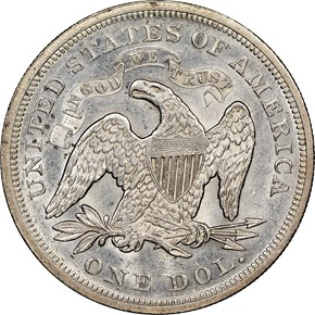 1869 $1 MS reverse