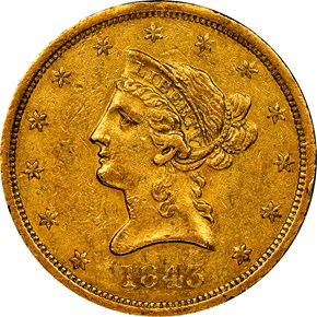 1843 O $10 MS obverse