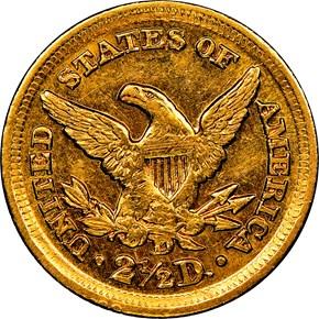 1859 D $2.5 MS reverse