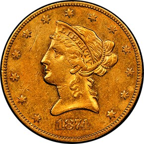 1874 CC $10 MS obverse