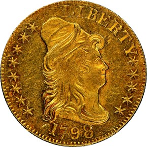 1798 LARGE EAGLE LG 8 13 STARS REV $5 MS obverse