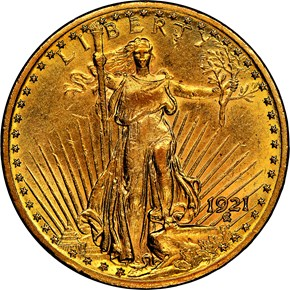 1921 $20 MS obverse