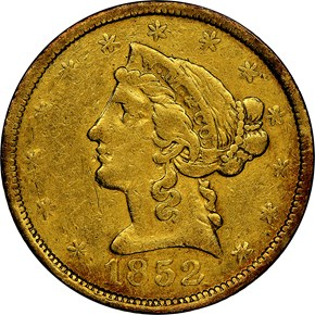 1852 SMALL HEAD WASS, MOLITOR & CO. $5 MS obverse