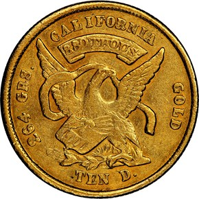 1852 CLOSE DATE MOFFAT & CO. $10 MS reverse