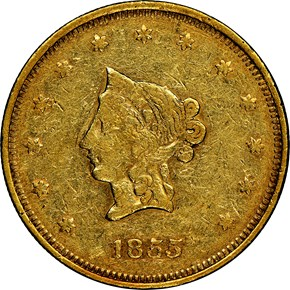 1855 SMALL HEAD WASS, MOLITOR & CO. $20 MS obverse