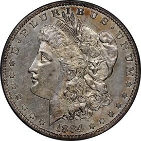 1884 $1 PF obverse