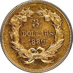 1880 $3 MS reverse