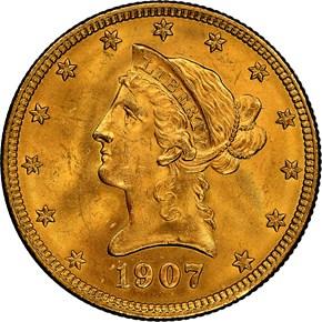 1907 LIBERTY $10 MS obverse