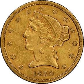 1859 C $5 MS obverse