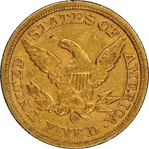 1859 C $5 MS reverse