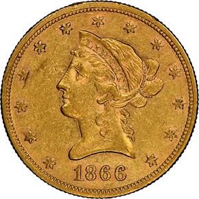 1866 MOTTO $10 MS obverse