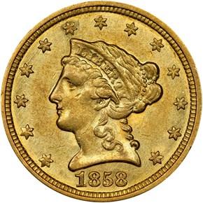 1858 C $2.5 MS obverse