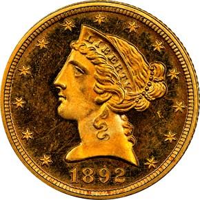 1892 $5 MS obverse