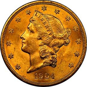 1904 $20 MS obverse