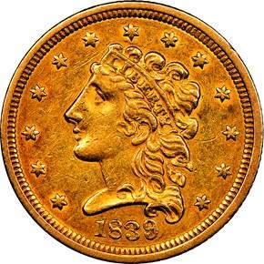 1839 HM-1 $2.5 MS obverse