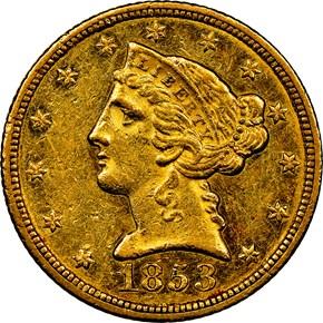 1853 C $5 MS obverse