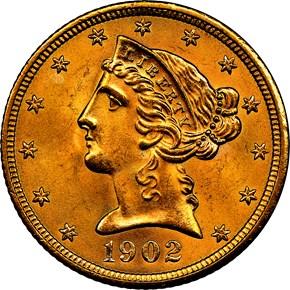 1902 S $5 MS obverse