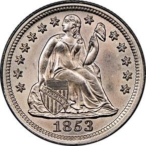 1853 NO ARROWS 10C MS obverse