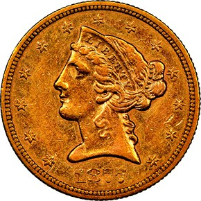1877 S $5 MS obverse