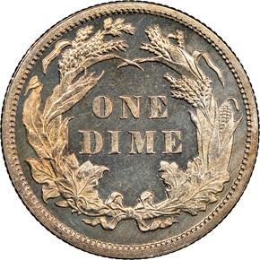 1887 10C PF reverse