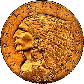 1908 $2.5 MS obverse