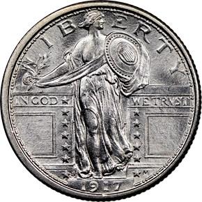 1917 S TYPE 1 25C MS obverse