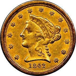 1842 O $2.5 MS obverse