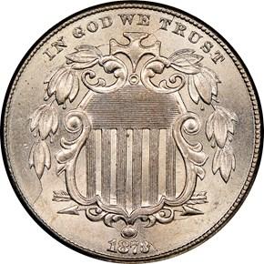 1873 CLOSED 3 5C MS obverse