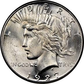 1927 S $1 MS obverse
