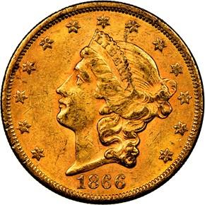 1866 MOTTO $20 MS obverse