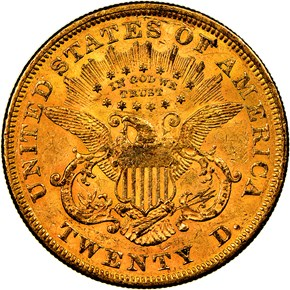 1866 MOTTO $20 MS reverse