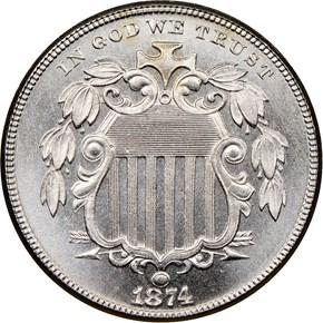 1874 5C PF obverse