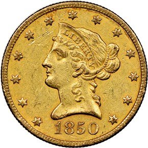 1850 O $10 MS obverse