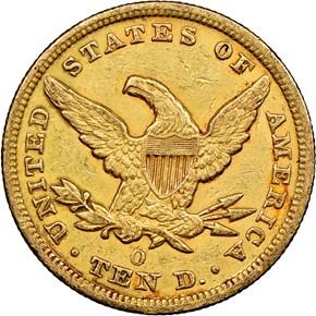 1850 O $10 MS reverse