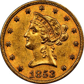1853/'2' $10 MS obverse