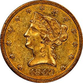 1849 $10 MS obverse