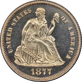1877 10C PF obverse