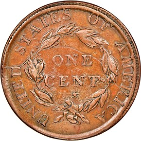 1823 COPPER RESTRIKE 1C MS reverse