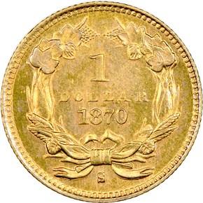 1870 S G$1 MS reverse