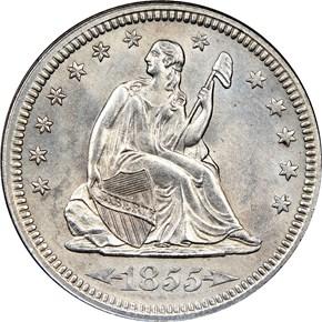 1855 ARROWS 25C MS obverse