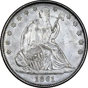 1861 CSA RESTRIKE B-8001 50C MS obverse