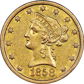 1858 S $10 MS obverse