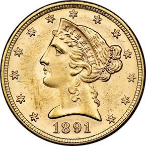 1891 $5 MS obverse