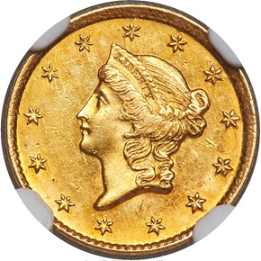 1854 D G$1 MS obverse