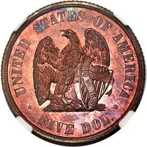 1872 J-1241 $5 PF reverse